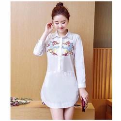 Đầm Suông trắng sơ mi in rồng túi 2 bên siêu cute - AKN3275