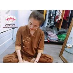 Bộ nâu đi chùa - quần áo Phật tử - mẫu Đài Loan
