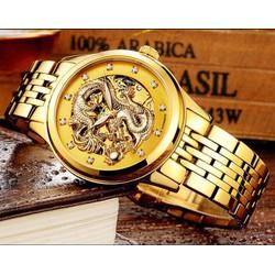 đồng hồ kim cơ tự động mặt rồng vàng cao cấp, sang trọng