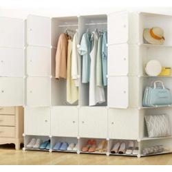 Tủ quần áo nhựa lắp ráp 12 ngăn kết hợp kệ bên hông vân gỗ cao cấp