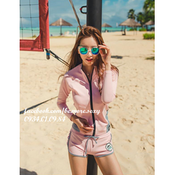 Đồ bơi bikini nữ 4 mảnh áo khoác dài tay quần short