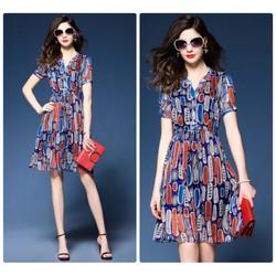 Đầm xòe họa tiết mùa hè