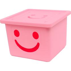 Thùng nhựa đựng đồ cao cấp size nhỏ Happy Box hồng nhạt