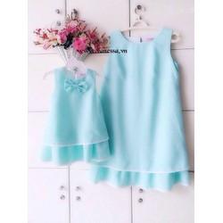 Đầm đôi cho mẹ và bé fom suông 2 lớp xinh xắn HGS 780
