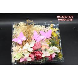 Bộ hoa cài tóc kết hợp với bướm trắng , hồng