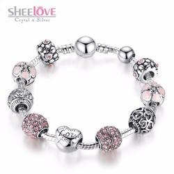 vòng tay nữ thời trang hạt charm đính đá sang trọng lấp lánh PA1455