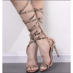 Giày cao gót chiến binh da rắn