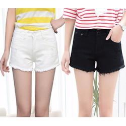 Quần short jean trắng đen