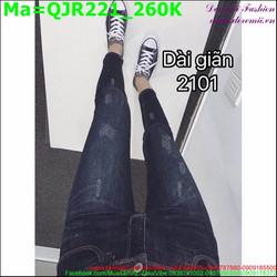 Quần jean nữ lưng cao sờn nhẹ QJR221