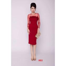 Đầm Body Tay Lưới Kết Hoa Hồng