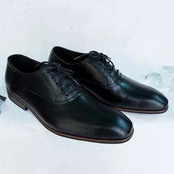 Giày Tây Nam Oxford Đen trơn cột dây da bò xịn giá khuyến mãi