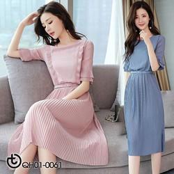 Đầm trơn xếp ly cao cấp phong cách Hàn - hàng nhập Quảng Châu