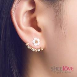 Bông tai hoa mai viền đính đá zircon xinh xắn sang trọng HKE-JY5381