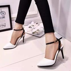 Giày cao gót da bóng phối màu sang trọng - 119