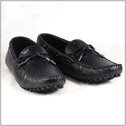 Giày lười nam màu đen da trơn buộc dây PY-004