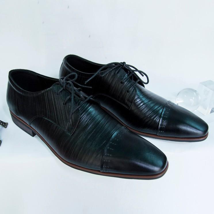 Giày Tây Nam Oxford Đen da bò xịn kiểu xọc giá tốt 2