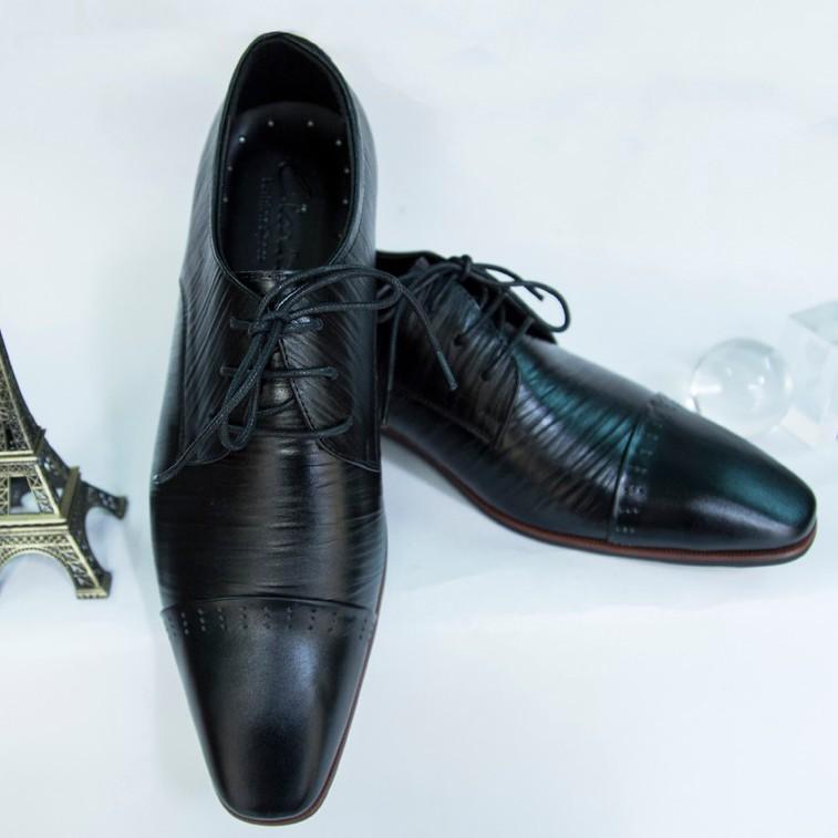 Giày Tây Nam Oxford Đen da bò xịn kiểu xọc giá tốt 3