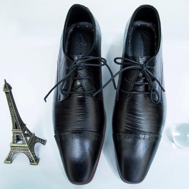 Giày Tây Nam Oxford Đen da bò xịn kiểu xọc giá tốt 1