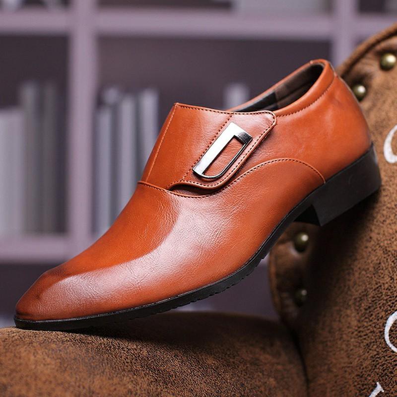 Giày tây thời trang nam chất liệu cao cấp , quai ngang độc đáo 610 1