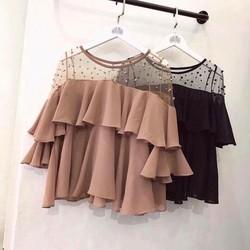 áo kiểu voan phối lưới