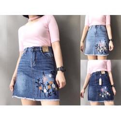 Chân váy jeans lưng cao phối hoa siêu đẹp cho các nàng