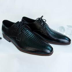 Giày Tây Nam Oxford Đen cột dây da kiểu kiểu vân cá sấu giá rẻ