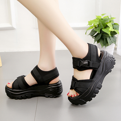 Giày sandal nữ đế bánh bánh mì quai dán Hàn Quốc