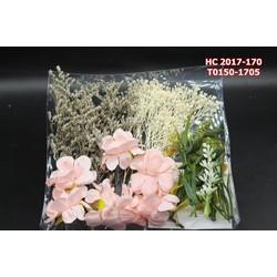 Bộ hoa cài tóc cô dâu màu hồng kết hợp hoa khô