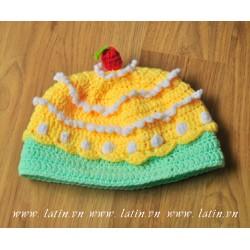 Nón len hình bánh kem - Mũ len bánh sinh nhật