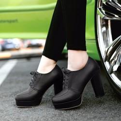 Giày boot nữ cổ sâu đế vuông sang trọng GBN15401