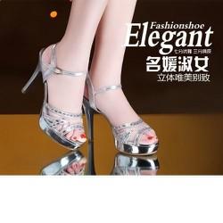 Giày sandal cao gót đính đá bạc