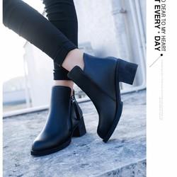 Giày boot nữ cổ ngắn đế vuông ôm chân sành điệu GBN15201