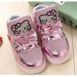 Giày thể thao đèn LED hình kitty màu hồng