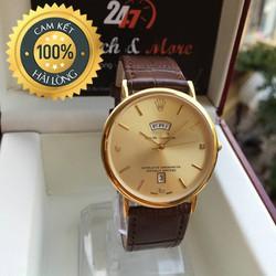 Đồng hồ nam dây da RL cao cấp hai lịch, chống xước chống nước tốt