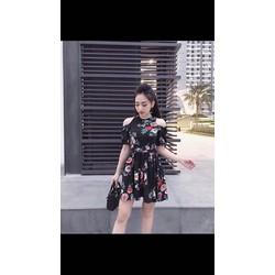 Đầm khoét vai bông siêu dễ thương