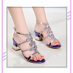 Sandal cao gót  da cừu đính đá