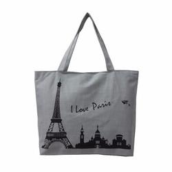 Túi Vài Tote Họa Tiết I Love Pari Xám Xinh Store