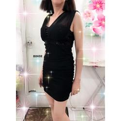 Đầm nữ dáng ôm không tay,phối lưới thân trên, phong cách gợi cảm-D2432