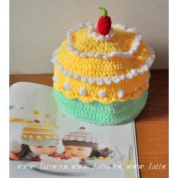 QUÀ TẶNG HANDMADE - Nón len hình bánh kem - Mũ len bé gái 1 - 2 tuổi
