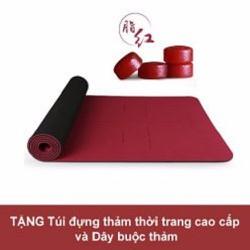 Thảm tập Yoga cao cấp Hatha đỏ đô - Tặng túi thời trang
