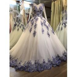 Váy cưới công chúa, ren xanh kim tuyến tùng to