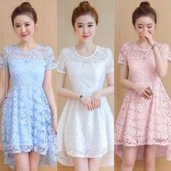 Đầm ren xòe dáng đuôi tôm thời trang - hàng nhập Quảng Châu cao cấp