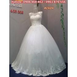 áo cưới cổ tròn AC404