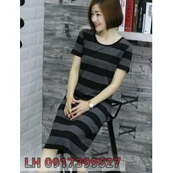 Đầm ôm phối sọc phong cách Hàn QUốc  L12DX2