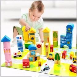 Đồ chơi lắp ghép thành phố bằng gỗ cho bé