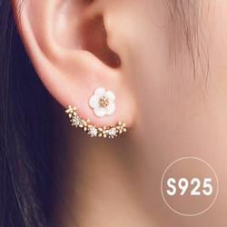 Bông tai S925 hoa mai viền đính đá lấp lánh sang trọng HKE-JY5381