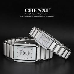 đồng hồ đá trắng,đen viền bạc mặt chữ nhật dành cho nữ -313