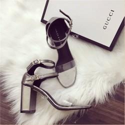 Giày gót vuông trong 2 quai choàng | giày cao gót nữ
