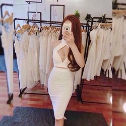 Set váy ôm áo yếm khoét ngực _MÕ CHU SHOP