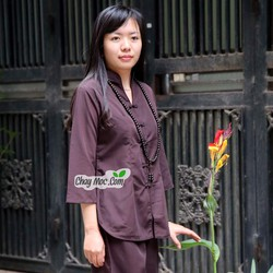 Quần áo phật tử nữ, áo lam đi chùa: Sẩm giữa cổ tàu - Q050